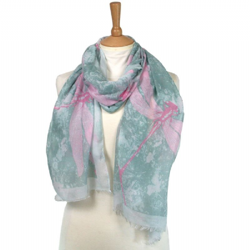 Large Dragonfly Scarf in Pink and Grey